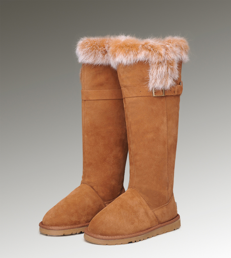 UGG Fox Fur Tall 1852 Chestnut Boots